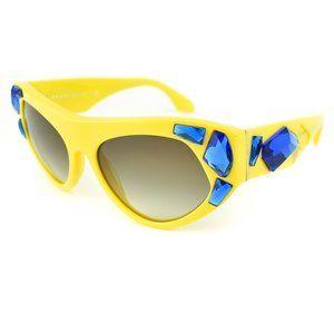 "PRADA: Yellow & Blue ""Crystals"" Logo Sunglasses sb"